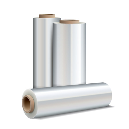 foil: Roll of wrapping plastic stretch film on white background. Vector illustration