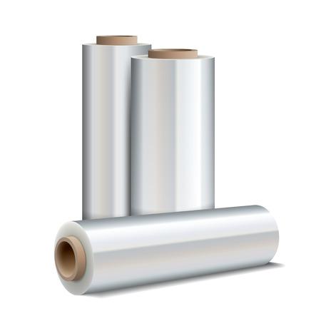 wraps: Rollo de film estirable envolver de plástico sobre fondo blanco. ilustración vectorial