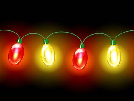festive background: MultiColored lamp festive garland. Seamless on black background