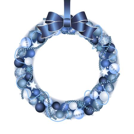 wreath christmas: Christmas wreath decoration from blue and silver Christmas Balls with blue bow knot. Vector illustration