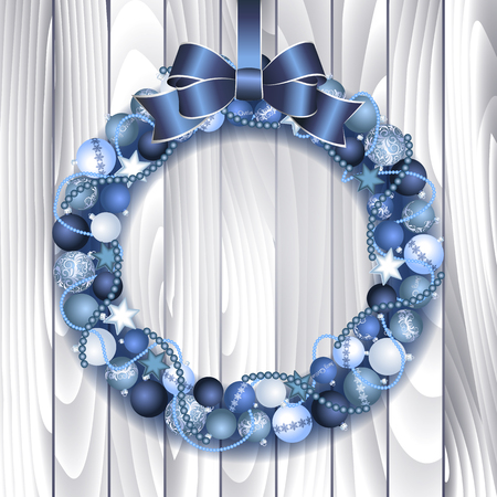Christmas wreath decoration from blue and silver Christmas Balls with blue bow knot. Vector illustration