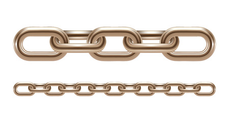 stainless: Metal chain links illustration isolated on white background Illustration