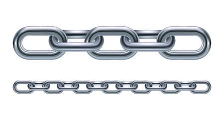 cadenas: Metal eslabones de la cadena ilustración aislado sobre fondo blanco