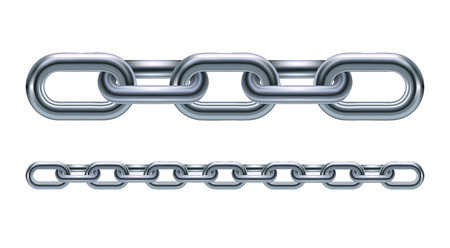 Metal chain links illustration isolated on white background Vettoriali