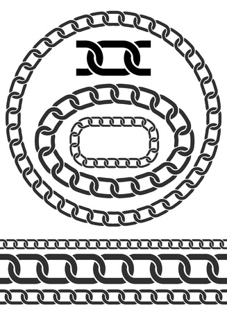 pressure linked: Chains illustration. Chain icons, parts, circles of chains. Pattern brush for chains Illustration