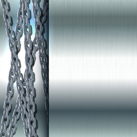ironworks: Chain stainless steel on metallic background polished steel texture illustration Illustration