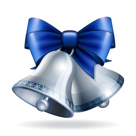 silver bells: Silver bells with blue ribbon.