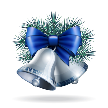 silver bells: Silver bells with blue ribbon and fir branches.