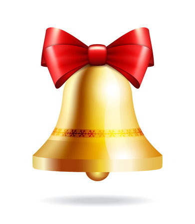 inkle: Golden jingle bell with red bow isolated on white. Illustration for christmas, new year, decoration, winter holiday
