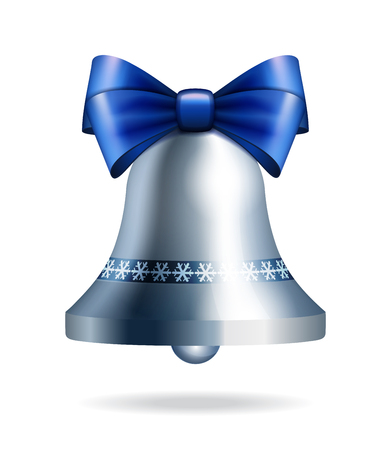 inkle: Silver jingle bell with blue bow isolated on white. Illustration for christmas, new year, decoration, winter holiday