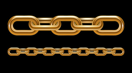 chain links: Metal chain links illustration on black background Illustration