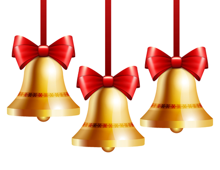 golden ribbons: Golden bells with a red bow hanging on red ribbons. isolated on white. Illustration