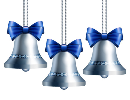 silver: Silver bells with blue ribbon hanging on silver chains. Stock Photo