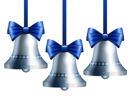 silver bells: Silver bells with blue ribbon hanging on blue ribbons.