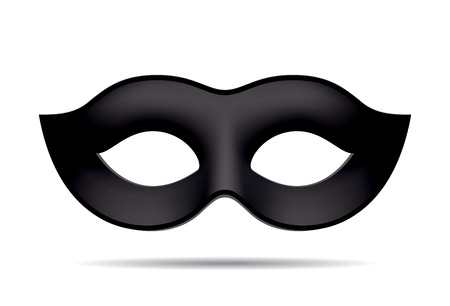 Black carnival mask for masquerade costume. Isolated on white background