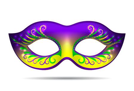 Mardi Gras mask isolated on white. Vector illustration Vettoriali