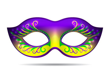 Mardi Gras mask isolated on white. Vector illustration Illustration