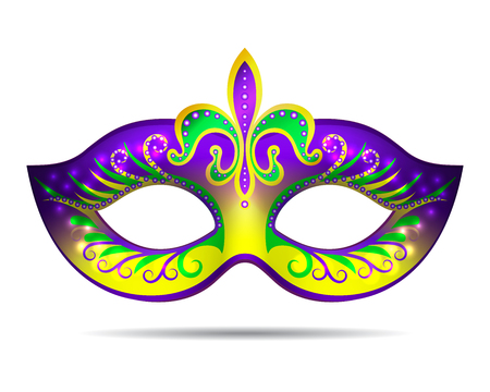 Mardi Gras mask isolated on white. Vector illustration Stock Illustratie