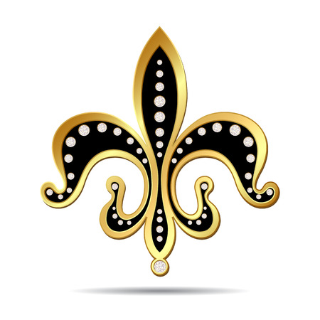 diamonds on black: Black fleur-de-lis with a gold rim and decorated with diamonds, decorative design or heraldic symbol on white background. illustration Illustration