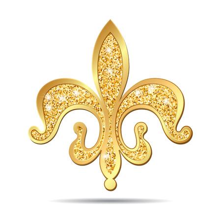 lys: Golden fleur-de-lis decorative design or heraldic symbol on white background. illustration