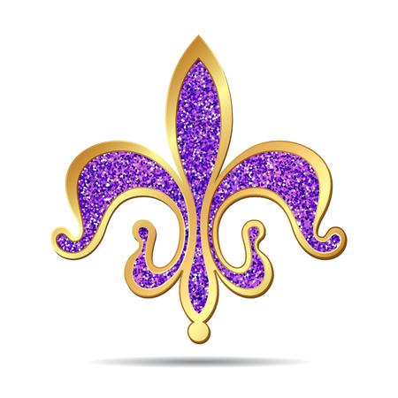 Golden and purple fleur-de-lis decorative design or heraldic symbol. illustration Vettoriali