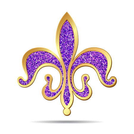 lis: Golden and purple fleur-de-lis decorative design or heraldic symbol. illustration Illustration