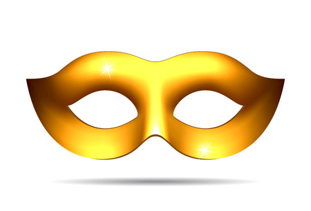 fallacy: Gold carnival mask for masquerade costume. Isolated on white background