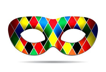 pierrot: Harlequin mask isolated on white background. iluustration