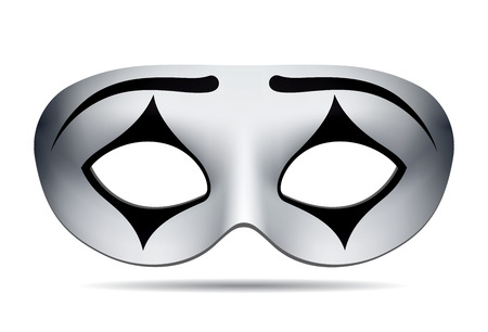 mimicry: Pierrot carnival mask on white background. illustration