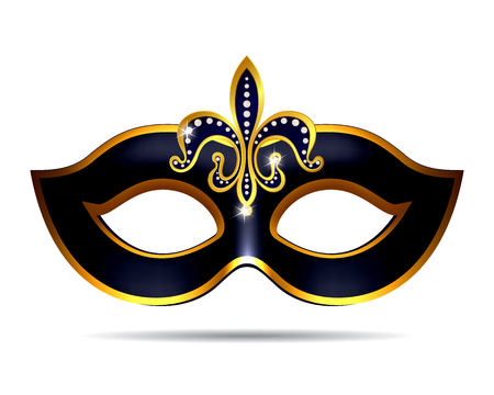 carnival costume: Black carnival mask for masquerade costume. Isolated on white background
