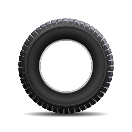 wheel change: Car tire isolated on white background. illustration