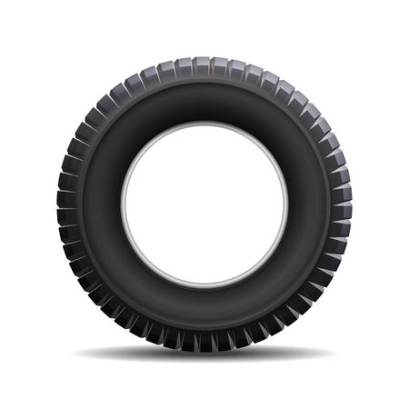 llantas: neumático de coche aislado en el fondo blanco. ilustración