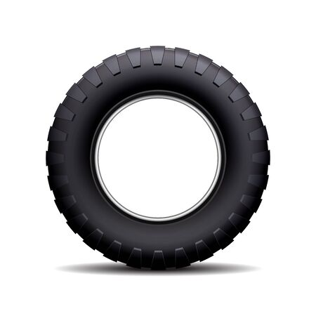 traction: Car tire isolated on white background. illustration