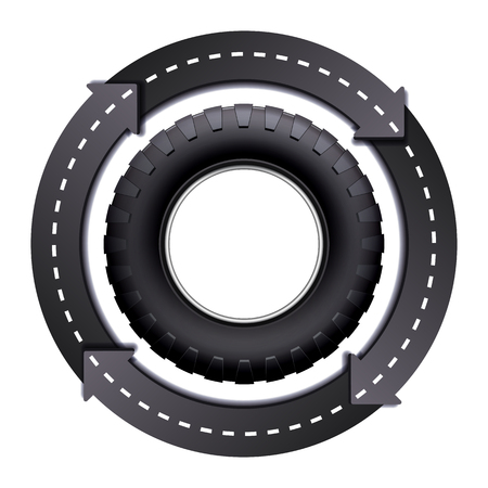 car wheel: Design Template with Circles Arrow Road And Car tire isolated on white background. Symbol of trucking. illustration Illustration