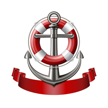 Nautical emblem with an anchor, lifebuoy and red ribbon isolated on white background. Marine summer travel banner. Vector illustration