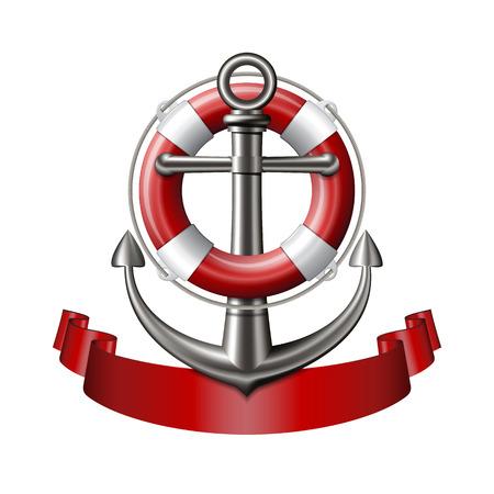 emblema nautico con un'ancora, salvagente e nastro rosso isolato su sfondo bianco. Marine banner di viaggio estate. illustrazione di vettore Vettoriali