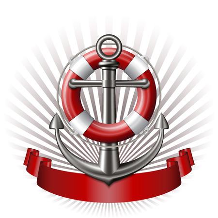 sail boat: Nautical emblem with an anchor, lifebuoy and red ribbon. Marine summer travel banner. Vector illustration