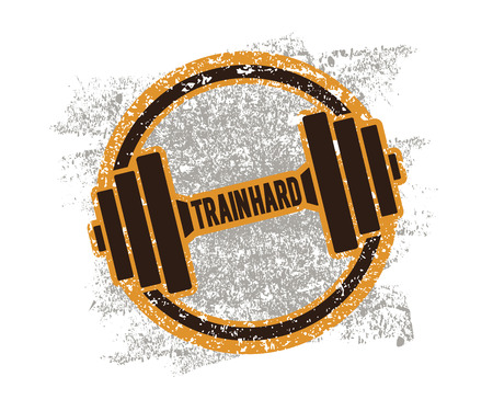 grungy background: Grunge Dumbbell Icon with the words Train hard. Vector illustration