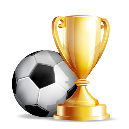 Gold cup with a football ball isolated on white background. Vector illustration