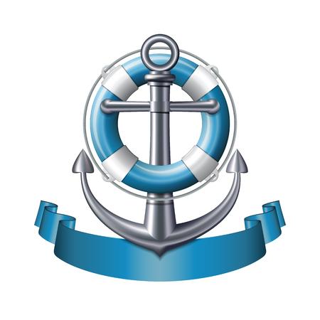 emblema nautico con un'ancora, salvagente e nastro blu isolato su sfondo bianco. Marine banner di viaggio estate. illustrazione di vettore