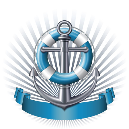 Nautical emblem with an anchor, lifebuoy and blue ribbon. Marine summer travel banner. Vector illustration Illustration