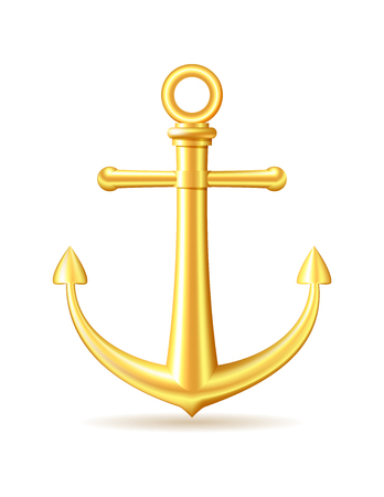 gold coast: Gold anchor on white background. Vector illustration