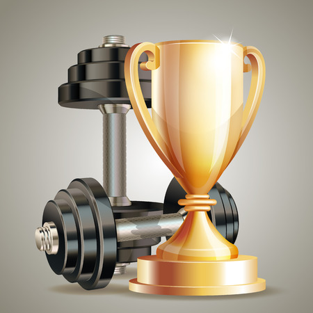 Gold cup with metal realistic dumbbells. Vector illustration