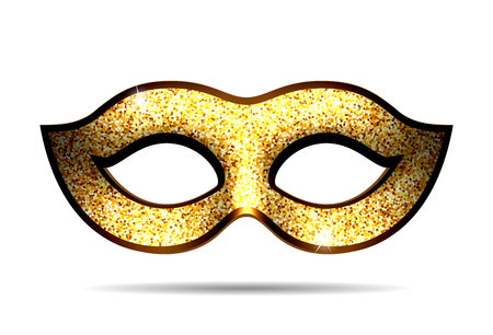 carnival costume: Gold carnival mask for masquerade costume. Isolated on white background