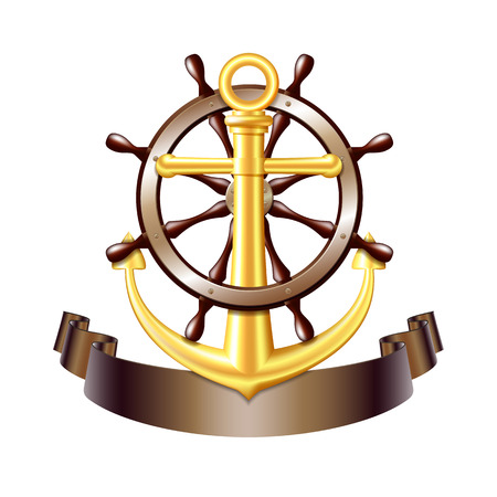 Nautical emblem with golden anchor, Steering wheel for ship and ribbon. Marine summer travel banner. Vector illustration Ilustracja