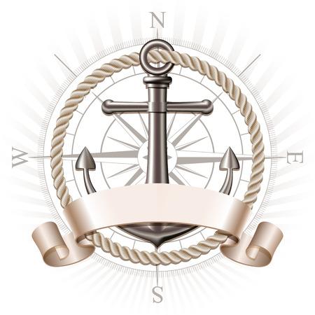 insignias: emblema náutico con soporte de metal, rosa de los vientos y la cinta. banner de viajes de verano marino. ilustración vectorial Vectores