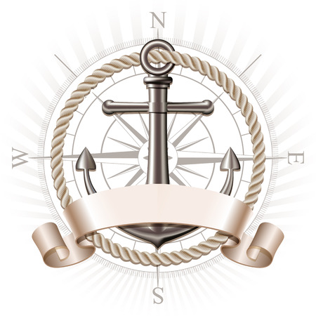 Nautical emblem with metal anchor, compass rose and ribbon. Marine summer travel banner. Vector illustration