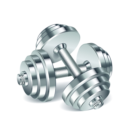 dumbell: Metal realistic dumbbells isolated on white background. Realistic vector illustration. Illustration