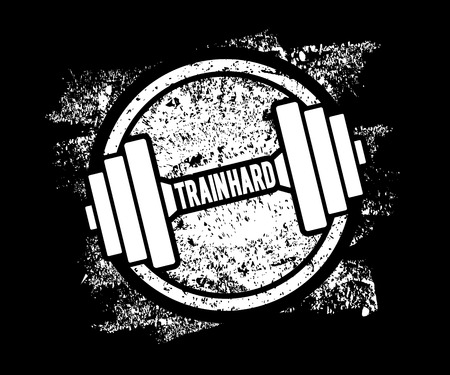bodybuilding: Grunge Dumbbell Icon with the words Train hard. Vector illustration