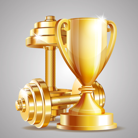 Gold cup with golden realistic dumbbells. Symbol of fitness champion. Realistic vector illustration. Illustration